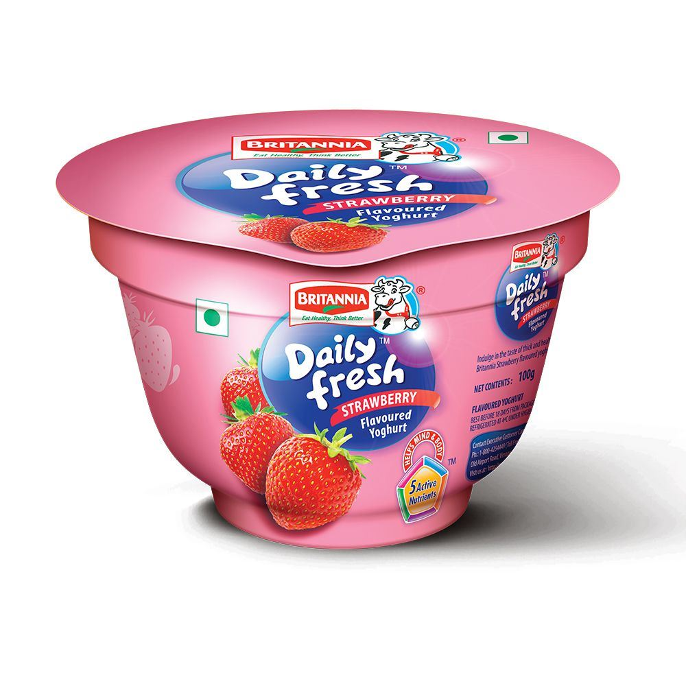 Picture of Britannia Daily Fresh Yogurt Strawberry 100gm