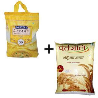Picture of Patanjali Combo Offer: Daawat Rozana Basmati Rice Tini 50 10kg +  Patanjali atta 10kgm