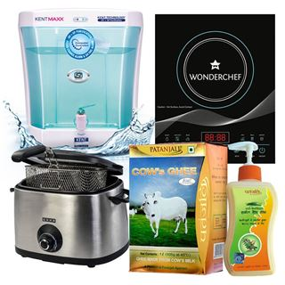 Picture of Mega Patanjali  Combo Offer: Kent Ultra UV Water Purifiers + Usha Deep Fryer 3215 + Wonderchef Induction Plate WCF-C12 + Patanjali Herbal Hand Wash 250ml + Patanjali Cow Ghee 1ltr