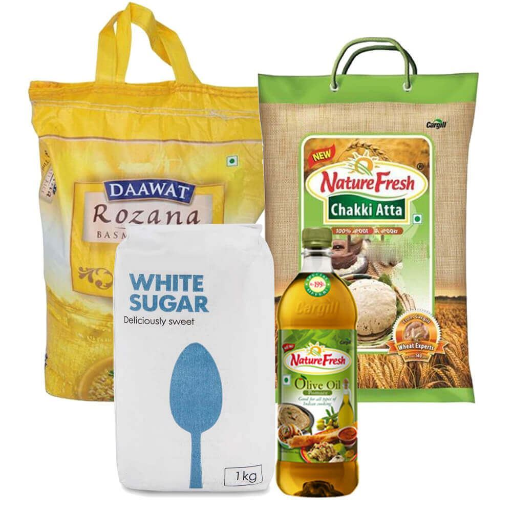 Picture of Mega Combo Offer: Nature Fresh Olive Oil 1ltr + Daawat Rozana Basmati Rice Tini 50 10kg + Nature Fresh Chakki Fresh atta 5Kg +Sugar 1 Kg
