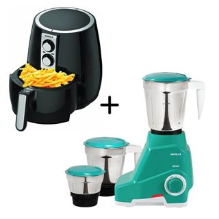 Picture of Combo Offer: Havells Genie Grey/Green Mixer Grinder 500w + Havells Prolife Plus Air Fryer 1230w