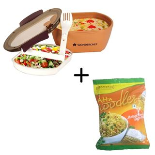 Picture of Patanjali Combo Offer: Wonderchef Lunch Box With Cutlery Set Containers + Patanjali atta Noodles 70gm