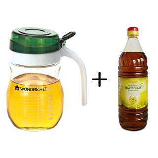 Picture of Patanjali Combo Offer: Wonderchef Glass Oil Pourer Transparent 550ml + Patanjali Mustard Oil 1ltr