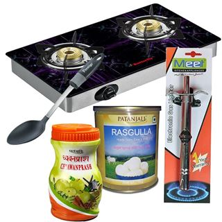 Picture of Patanjali  Combo Offer: Prestige Kitchen Tools & Accessories Spoon (Nylon) + Butterfly Gas Stove Top-Tulip 2 Burner Glass L3540I00000 + Meet Gas Lighter Spectra + Patanjali Rasgulla 1kg + Patanjali Chyawanprash 1kg