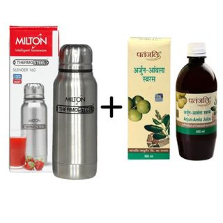 Picture of Patanjali Combo Offer: Milton Elfin Vacuum Bottle 160ml + Patanjali Amla Juice 500ml