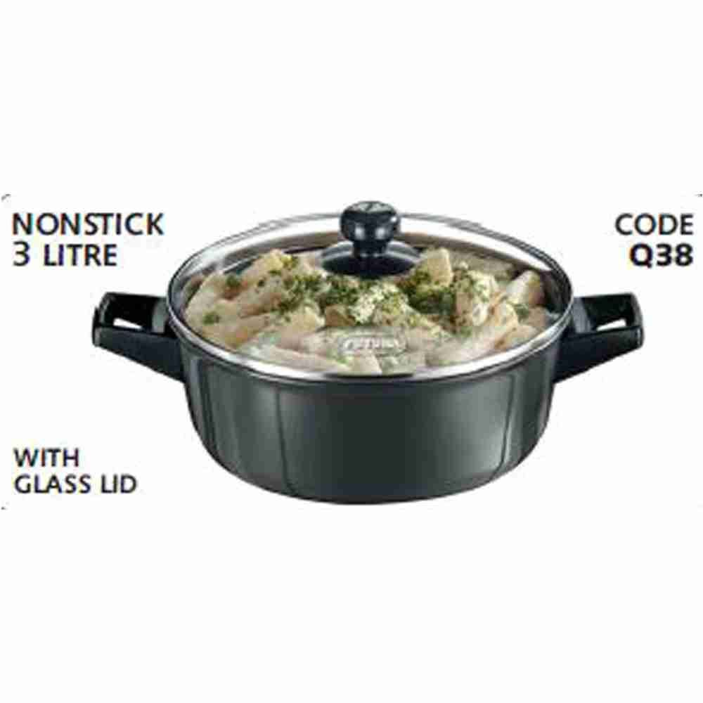 Hawkins Futura Cookware Nonstick Cook N Serve Bowl With Glass Lid Q 38 3L, 23cm, 4.06mm
