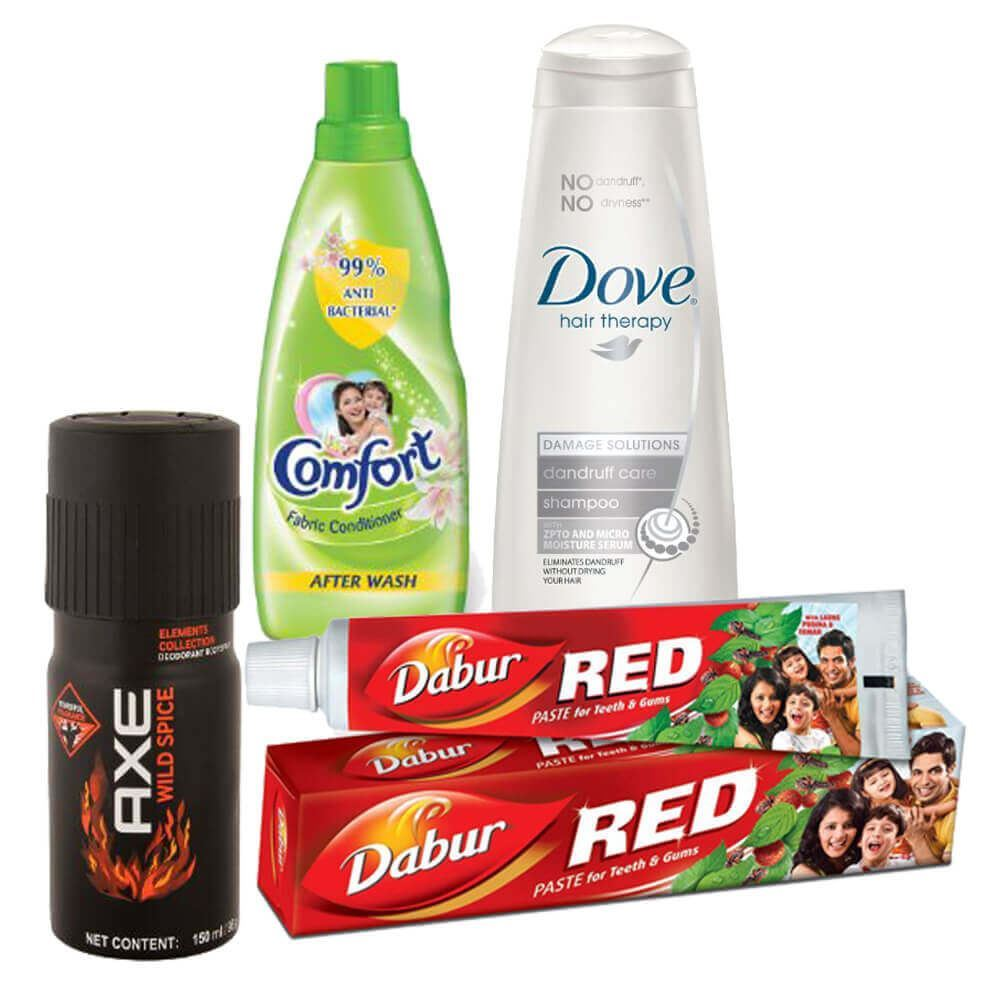 Picture of Mega Combo Offer: Dove Dandruff Care Shampoo 80ml + Axe Wild Spice Deo 150ml + Comfort Fabric conditioner Green Bottle 800ml + Dabur Red Toothpaste 100gm