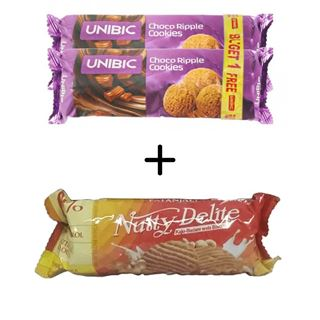 Picture of Patanjali Combo Offer: Unibic Milk Cookies 100gm(Buy 1 Get 1 Free) + Patanjali Nutty Delight Biscuit 100gm (2 packs)