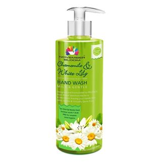 Picture of November Bloom Chamomile and White Hand Wash Bottle Large 515 ml + Free one35 ml Hand Sanitizer worth Rs. 50