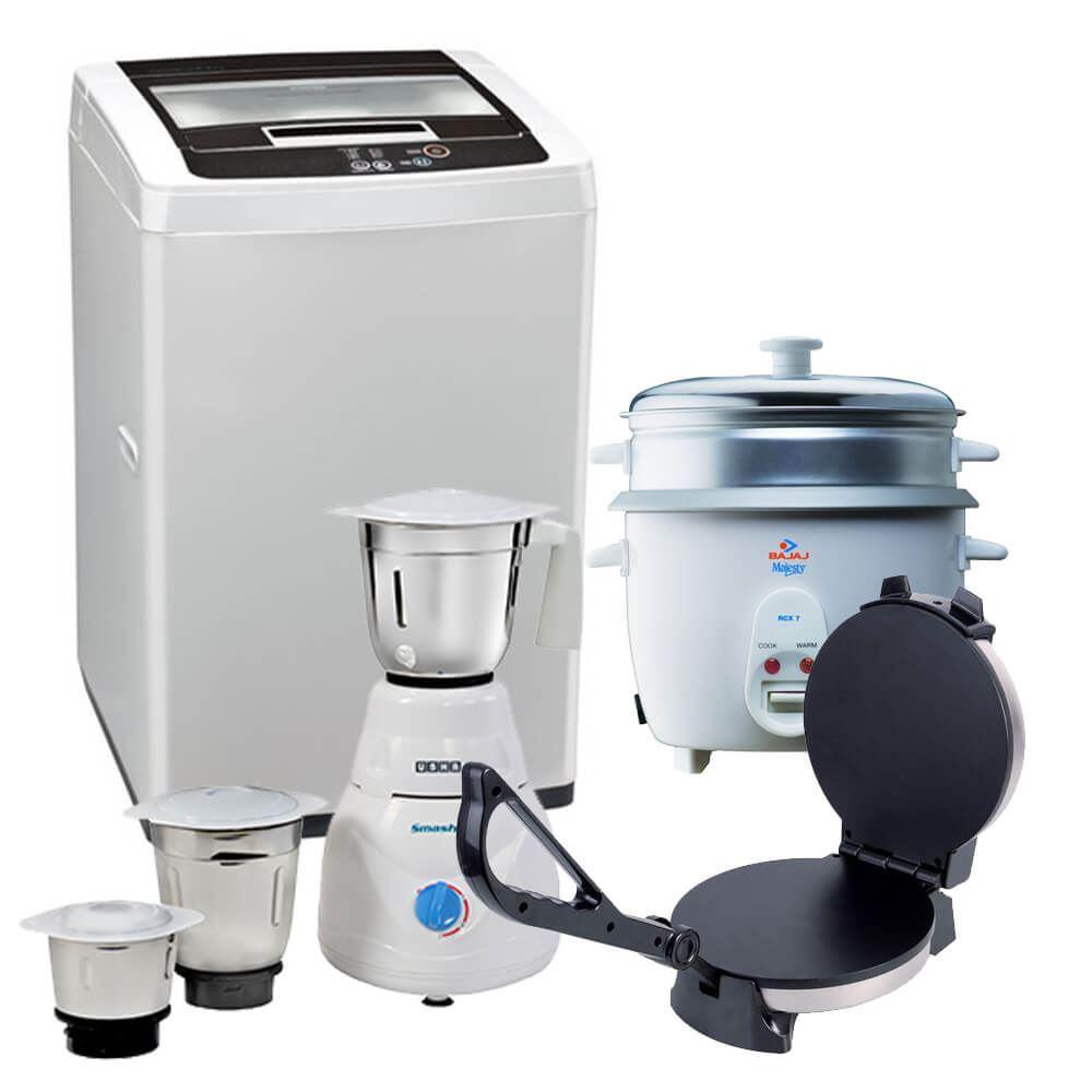 Picture of Mega Combo Offer: LG Washing Machine T7271TDDL  + Usha Mixer Grinder 2853 + Bajaj Majesty New RCX 7 Electric Rice Cooker + Wonderchef Prato Roti Maker