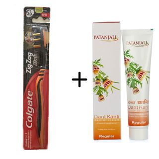 Picture of Patanjali Combo Offer: Colgate ZigZag Black Toothbrush + Patanjali Dant Kanti Dental Cream 100gm