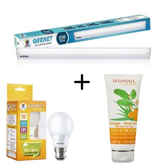 Picture of Patanjali Combo Offer: Wipro LED Tube Light 20W 6500k + Wipro Led Bulb 9 Watt + Patanjali Orange Aloe Vera Face Wash 60gm